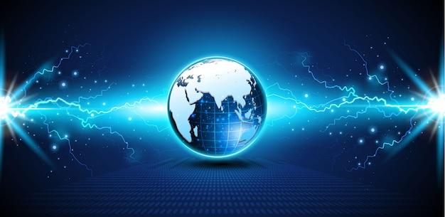 Fond de circuit numérique abstrait tech sphère