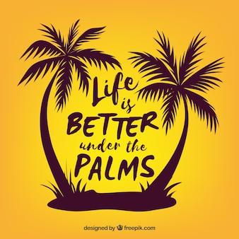 Fond de citation de l'été avec la silhouette des palmiers