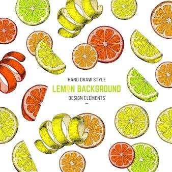 Fond de citron dessiné à la main