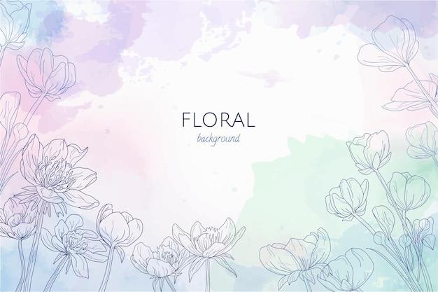Fond clair aquarelle avec fleurs gravées