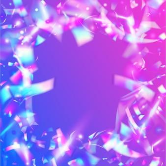 Fond clair. disco prisme. feuille de fantaisie. éblouissement d'hologramme. art de vacances. illustration colorée de flou. effet irisé. paillettes rétro roses. fond clair violet
