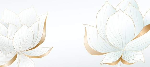 Fond clair avec des fleurs de lotus avec des éléments dorés pour la conception de bannières web, l'emballage ou l'écran de démarrage des médias sociaux.
