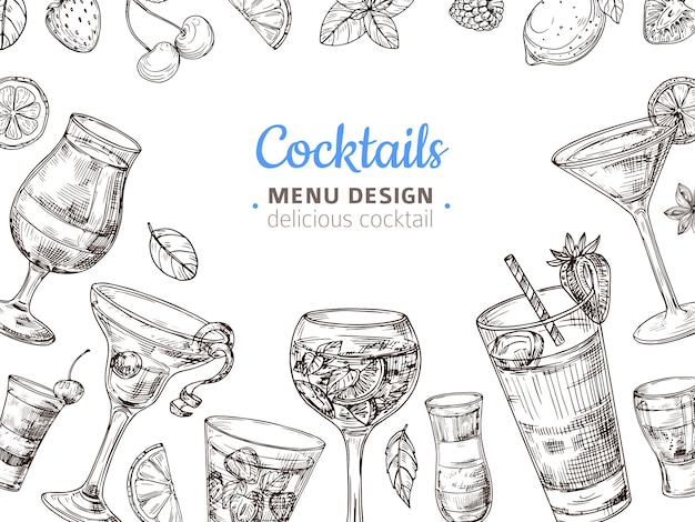 Fond de cocktail dessiné à la main