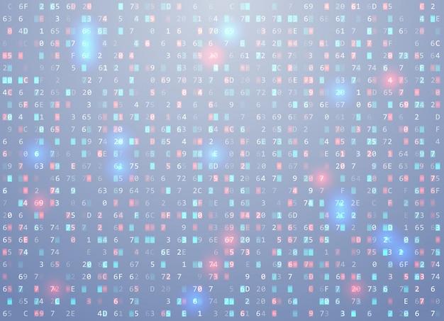 Fond de code hexadécimal vectoriel avec un élément important, une erreur, une vulnérabilité de mémoire.