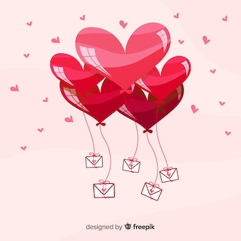 Fond coeur ballons dessinés à la main