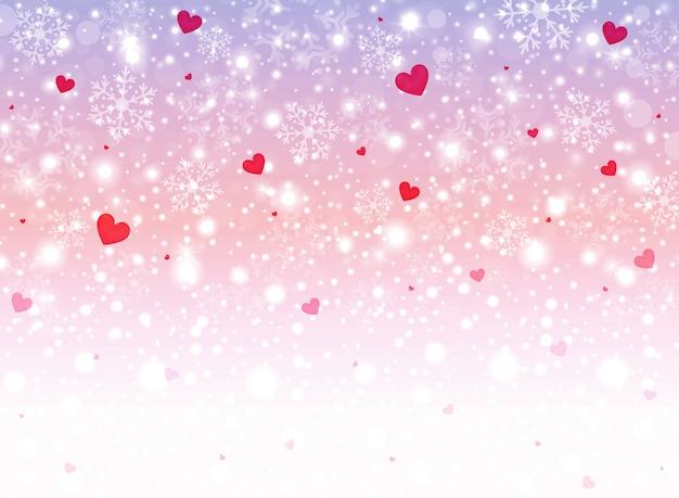 Fond de coeur doux avec des flocons de neige pour l'abstraction de la saint-valentin