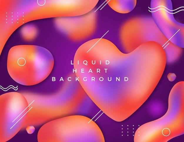 Fond de coeur liquide coloré