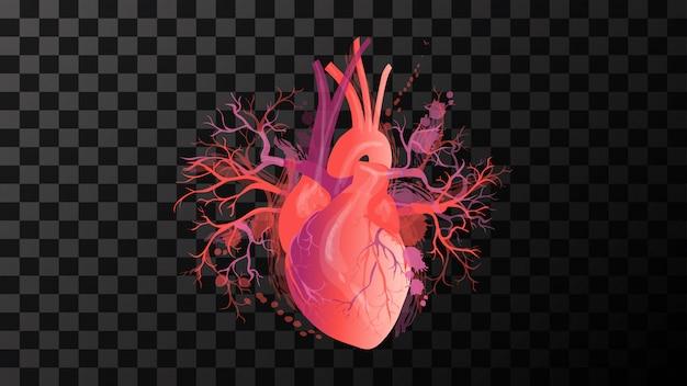Fond de coeur rouge art illustration vectorielle isolé