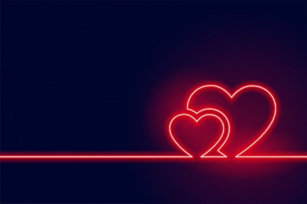 Fond de coeur rouge néon rougeoyante