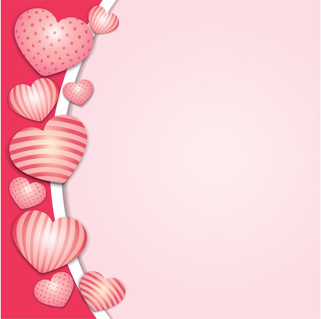 Fond avec des coeurs décorés en 3d