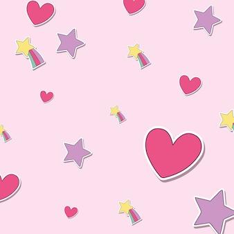 Fond de coeurs et d'étoiles