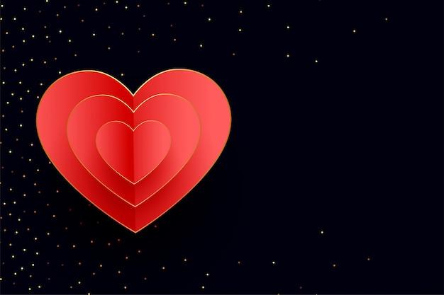 Fond de coeurs joyeux saint valentin avec des paillettes dorées