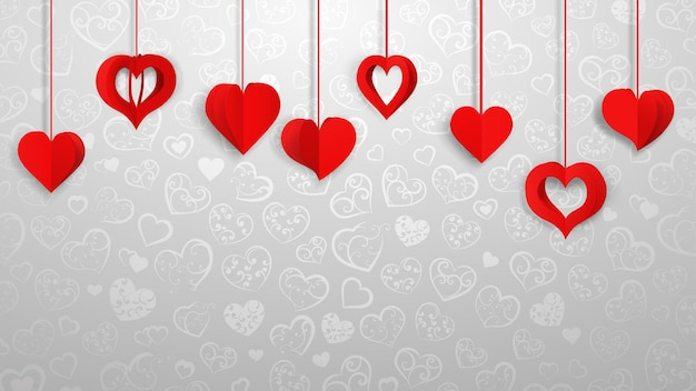 Fond avec des coeurs de volume de papier suspendu, rouge sur gris