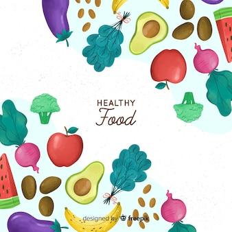 Fond de coins colorés aliments frais