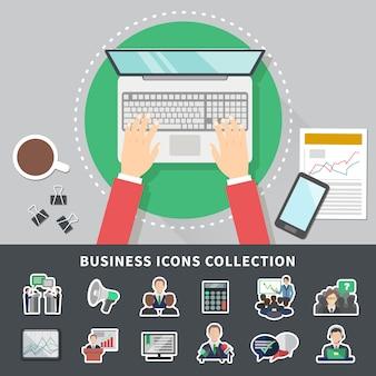 Fond de collection d'icônes d'affaires