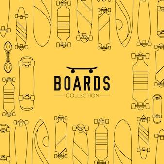 Fond de collection de skateboard et skateboard avec des planches à roulettes