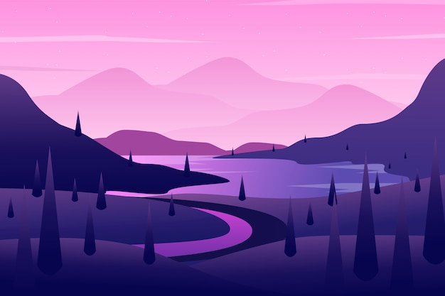 Fond de colline avec illustration de paysage ciel et arbre violet