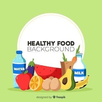 Fond coloré d'aliments sains