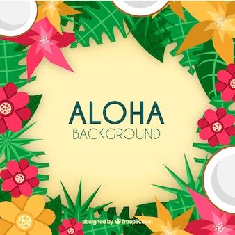 Fond coloré d'aloha avec des fleurs