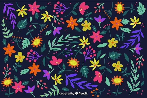 Fond coloré avec de belles fleurs et design floral