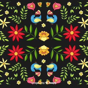 Fond coloré de broderie mexicaine