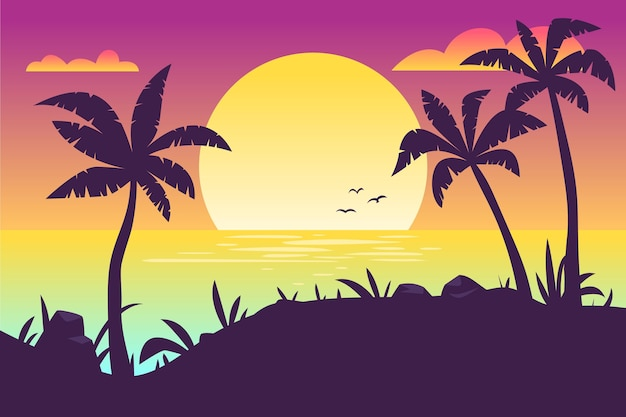 Fond coloré avec concept de silhouettes de palmiers