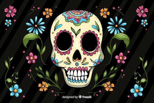 Fond coloré dia de muertos dessiné à la main