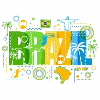 Fond coloré avec des éléments représentatifs de brazil