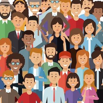 Fond coloré avec ensemble de personnes du groupe demi corps