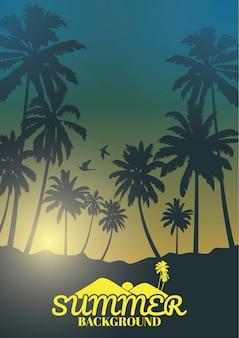 Fond coloré de l'été, fond avec la silhouette des palmiers et le lever du soleil tropical.
