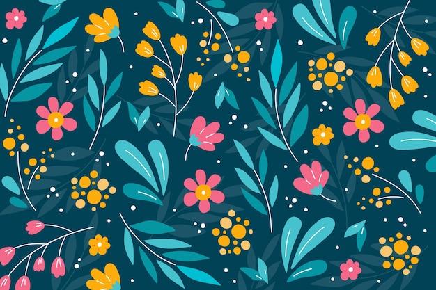 Fond coloré avec des fleurs ditsy