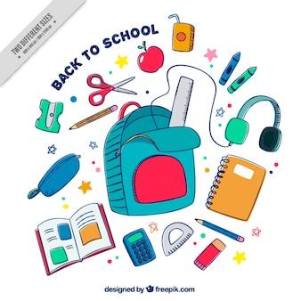 Fond coloré avec des fournitures scolaires dessinés à la main