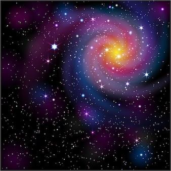 Fond coloré avec galaxie et étoiles