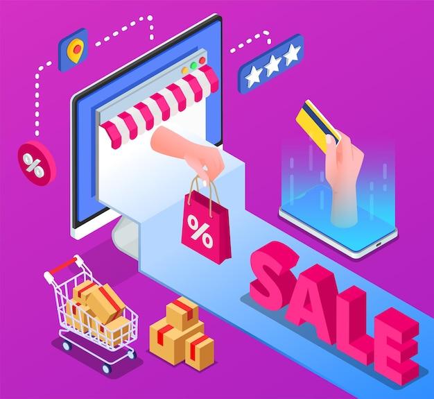 Fond coloré isométrique de vente en ligne avec une main humaine tenant un sac de carte de crédit en plastique avec icône de pourcentage et panier avec illustration de boîtes d'achat