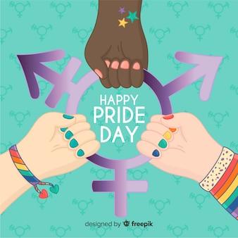 Fond coloré jour de fierté dessiné main