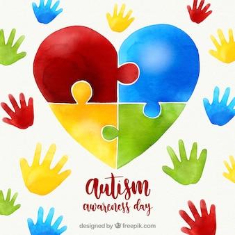 Fond coloré de la journée mondiale de l'autisme