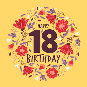 Fond coloré joyeux 18e anniversaire
