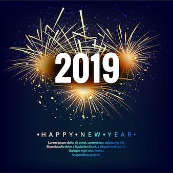 Fond coloré de joyeux nouvel an 2019 carte célébration