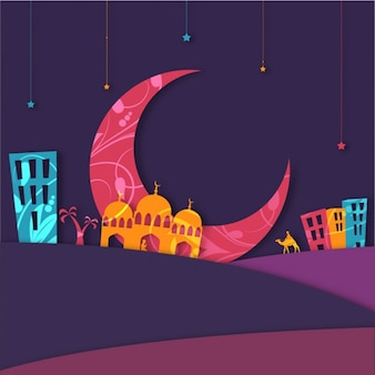Fond coloré avec la mosquée et la lune pour eid mubarak