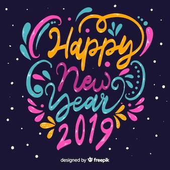 Fond coloré de la nouvelle année 2019