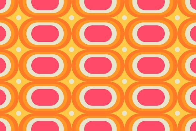 Fond coloré rétro, vecteur de forme ovale géométrique