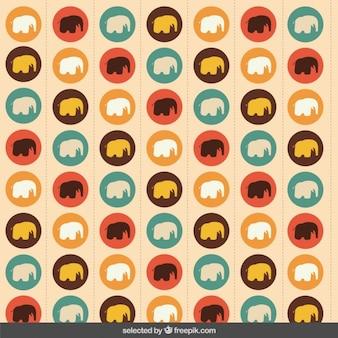 Fond coloré avec des silhouettes d'éléphants