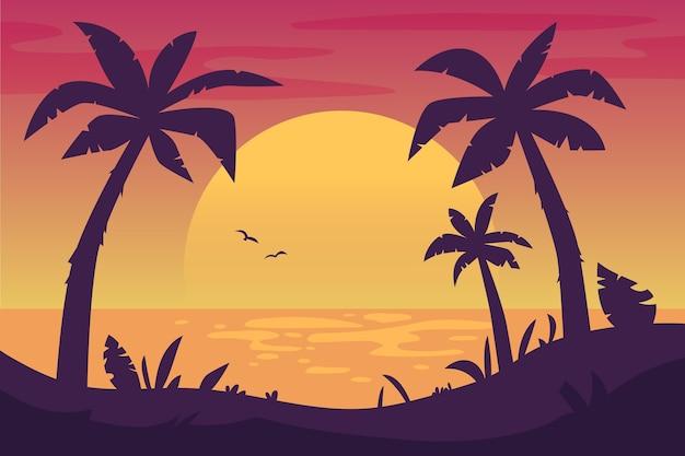 Fond coloré avec des silhouettes de palmiers