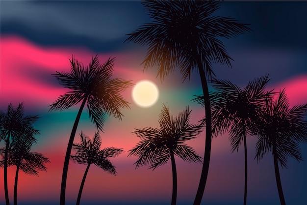 Fond coloré avec un style de silhouettes de palmiers