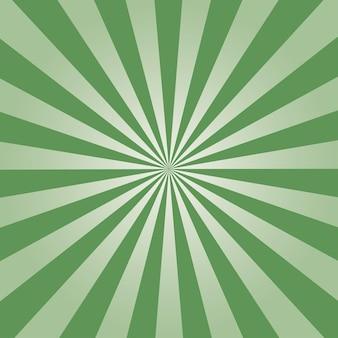 Fond comique. motif sunburst vert. illustration vectorielle.