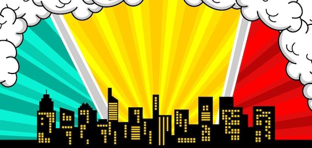 Fond comique avec la silhouette de la ville