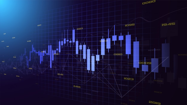 Fond de commerce avec l'illustration d'un graphique de bougie bleu transparent montant vers le haut. avec un design incliné de gauche à droite.