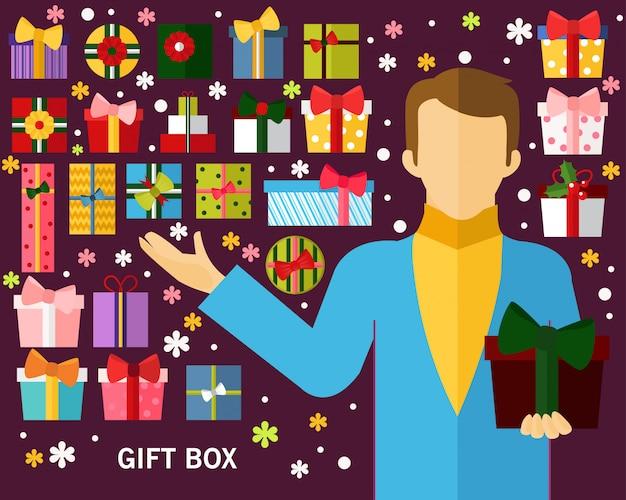 Fond de concept de boîte de cadeau