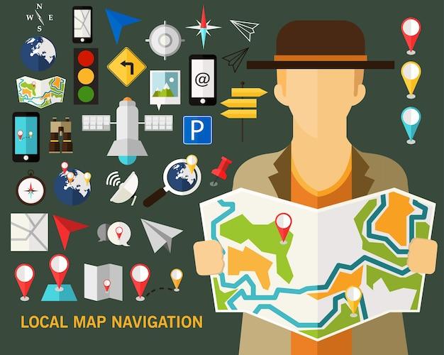 Fond de concept de carte de navigation locale. icônes plates