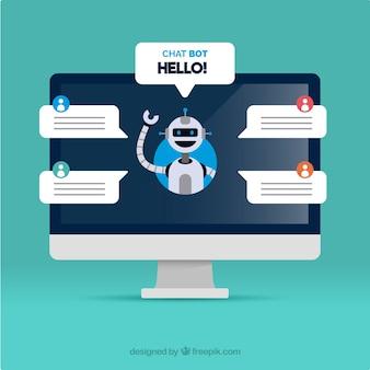 Fond de concept de chatbot avec ordinateur